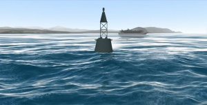 3D water intersection tests power a floating buoy.