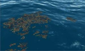 Floating kelp implemented as a volumetric deferred decal.